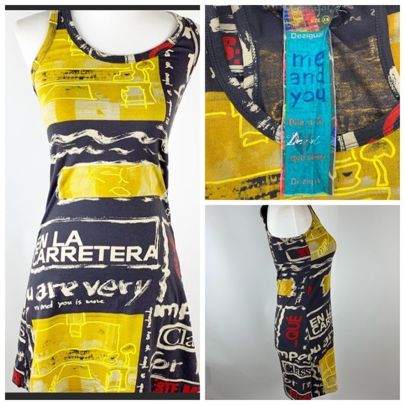 Desigual Dresses & Skirts - Desigual Graphic halter yellow & black Tank Dress